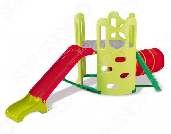 Игровой комплекс с туннелем Smoby 310426Игровые домики. Горки. Качели<br>Игровой комплекс с туннелем Smoby 310426 замечательное приобретение для вашего ребенка. Оно способствует гармоничному физическому развитию, хорошему настроению и отличному времяпрепровождению. Комплекс представляет собой целую игровую площадку, которую вы можете установить во дворе у себя на даче. Игровой комплекс состоит из нескольких частей: матерчатого туннеля, горки и стенки с отверстиями . Поднявшись по лестнице с овальными отверстиями, ребенок окажется на большой платформе, на которой он может посидеть и поиграть в другие. Под платформой можно устроить песочницу или игровой домик. Туннель сделан из синтетического гипоаллергенного материала, который можно стирать. Основными преимуществами игрового комплекса с туннелем Smoby 310426:  прочная и устойчивая платформа;  разнообразные элементы;  безопасные и практичные материалы;  отсутствие острых углов;  широкое основание горки,  удобные перекладины;  наиболее оптимальный угол наклона спуска и волнообразная конструкция горки. Игровой комплекс с туннелем Smoby 310426 можно разделить на три игровые зоны. Первая зона включает горку, широкий и плавный скат, который не имеет резких переходов. Удобная лестница имеет широкие ступеньки и минимальное расстояние между ними, поэтому ребенок сможет взбираться по ней самостоятельно. Вторая зона представляет собой цилиндрический туннель. Большое окошко обеспечивает прекрасную освещенность и циркуляцию воздуха. Туннель имеет особый прочный каркас, который позволяет ему держать форму. Третья зона имитирует скалодром, на которой очень удобно и безопасно оттачивать свои навыки скалолазания. Стенка имеет оригинальные овальные отверстия, за которые ребенок сможет ухватиться руками и опереться ногами.<br>
