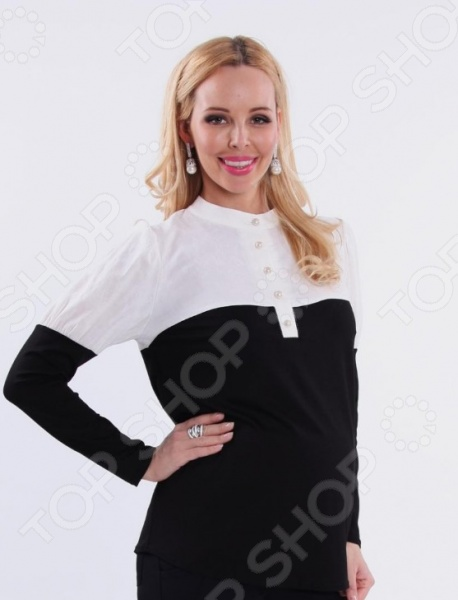 Кофта для беременных Nuova Vita 1397.01. Цвет: черный, кремовый блуза incity цвет черный белый