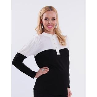 Купить Кофта для беременных Nuova Vita 1397.01. Цвет: черный, кремовый