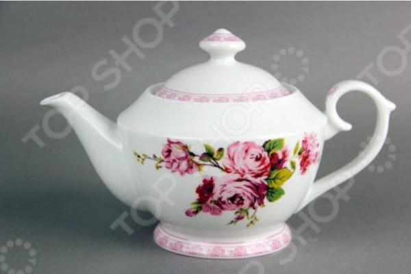 Чайник фарфоровый Коралл «Розы-акварель»