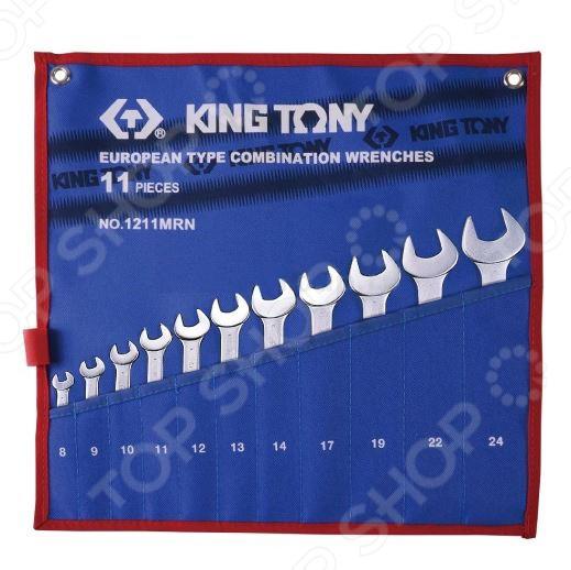 Набор ключей комбинированных King Tony KT-1211MRNКомбинированные ключи<br>Комбинированные ключи представляют собой слесарные инструменты, используемые для ручного завинчивания и отвинчивания крепежных деталей. Они достаточно функциональны и находят применение в различных, как промышленных, так и бытовых областях. Продуманная конструкция и высокопрочные материалы Набор ключей комбинированных King Tony KT-1211MRN станет отличным дополнением к набору слесарных инструментов и пригодится при выполнении монтажных и демонтажных работ у вас дома, в гараже и на даче. Помимо этого, такой комплект также будет не лишним и на станциях техобслуживания, в производственных цехах и автослесарных мастерских.  Ключи выполнены из легированной хромованадиевой стали. Данный металл отвечает всем требованиям стандартов и обеспечивает высокую надежность и износоустойчивость инструментов. Для обеспечения дополнительной прочности, ключи производятся методом горячей ковки с последующей термообработкой. Среди особенностей предлагаемого набора стоит отметить:  Изгиб рожковой и накидной части ключей на 15 градусов обеспечивает удобство использования даже в местах с ограниченным доступом к крепежу.  Накидная часть инструментов имеет 12-гранный профиль, позволяющий работать с головками болтов и гаек как 6-ти, так и 12-гранного профиля.  Всегда под рукой Для удобства использования и быстрого доступа к инструментам, ключи упакованы в чехол с маркировкой размера. Он, в свою очередь, изготовлен из теторона материала на основе термопластика, отличающегося устойчивостью к воздействию кислот, щелочей и органических растворителей. Помимо прочего, по бокам чехла предусмотрены специальные проушины для крепления к рабочему стенду или к верстаку.<br>