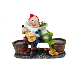 фото Кашпо декоративное Valenсia «Гном и лягушка на отдыхе»