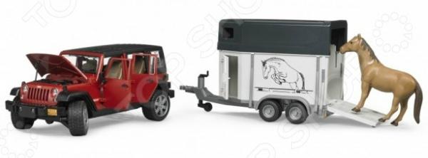 Внедорожник игрушечный Bruder Jeep Wrangler Unlimited Rubicon c прицепом-коневозкой 2 piece set locking hood look catch hood latches kit for jeep wrangler jk rubicon sahara unlimited 2007 2016