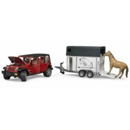 фото Внедорожник игрушечный Bruder Jeep Wrangler Unlimited Rubicon c прицепом-коневозкой