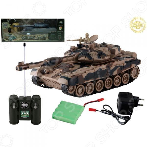 Танк на радиоуправлении Yako Т90 6105-1Танк на радиоуправлении Yako Т90 6105-1 детально смоделированная копия настоящего танка, которым можно управлять при помощи пульта радиоуправления с большим радиусом действия. Изготовлен из высококачественного прочного материала и обладает хорошей детализацией, что сделает игровой процесс более увлекательным. Разнообразит игровые ситуации и откроет новые сюжеты для юного любителя военной техники. Игрушка может двигаться: движение вперед и назад, повороты направо и налево. Пушка с инфракрасным излучателем поворачивается. Угол наклона пушки регулируется с пульта управления. Особенность танка в том, что на нем есть пневматическая пушка, снарядами которой можно поразить противника на расстоянии от 12 метров.  Радиус действия пульта -12 м.  Радиус передачи ИК сигнала - 8 м.  Время работы 15-20 минут.  Время зарядки - 4 часа.  Скорость танка - 6 км ч. Такой танк непременно найдет своё место как практичная игрушка для подростка, так и козырное место в коллекции.<br>