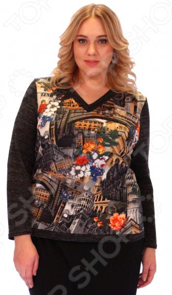 Блуза Элеганс МикельБлузы. Рубашки<br>Блуза Элеганс Микель привлечет внимание окружающих своей нежной изысканностью. Благодаря грамотному дизайну она скрывает любые недостатки силуэта, а универсальная длина до середины бедра и выразительный фасон позволяют надеть ее не только в офис или на прогулку, но и на официальные мероприятия. Низ изделия слегка ассиметричный: спинка опускается чуть ниже. V-образный вырез горловины сочетается с длинными рукавами, грамотно расставляя акценты и формируя женственный силуэт. Удобные рукава подходят для женщин с любой полнотой рук. Оригинальная цветовая гамма и стильный принт позволяют создавать высокохудожественные образы. Блузу можно комбинировать с разнообразными аксессуарами, она одинаково хорошо выглядит с юбками и брюками. Блуза изготовлена из полиэстера 95 и спандекса 5 . Полиэстер быстро высыхает после стирки. Такая ткань не деформируется и не теряет цвет. Швы обработаны текстурированными, эластичными нитями, благодаря чему не тянутся и не натирают кожу. Произведено в России.<br>