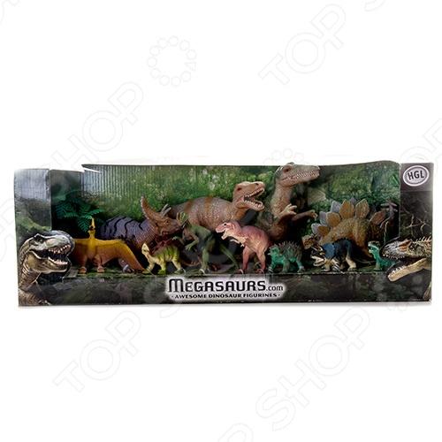 Набор фигурок HGL «Динозавры»Игрушечные животные<br>Набор фигурок HGL Динозавры понравится юным любителям динозавров. С этим набором ребенок сможет погрузиться в загадочный, увлекательный и неизведанный доисторический мир. В набор входят 12 фигурок динозавров, которые являются копией настоящих доисторических ящеров.<br>