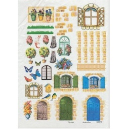 Купить Карта декупажная Кустарь «Элементы дома-дверцы, окошки, кирпичики»
