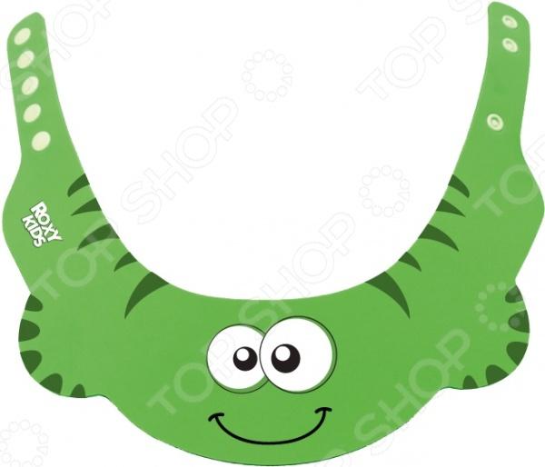 Козырек защитный для мытья головы Roxy - оригинальное приспособление для вашего ребенка. Просто наденьте козырек на голову малыша, так чтобы волосы остались над полями, и его глазки, ушки и нос будут надежно защищены от воды и шампуня. Длину универсального козырька можно регулировать специальной застежкой. Козырек имеет забавный дизайн, который обязательно понравится вашему малышу. Подойдёт для детей старше 6 месяцев, на обхват обхват в диапазоне от 38 до 54 см.