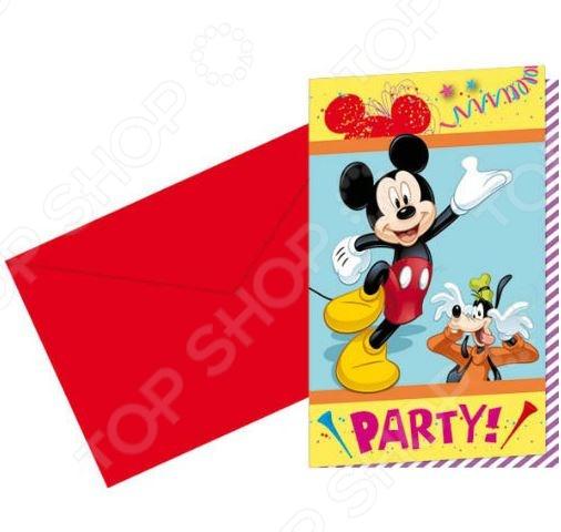 Приглашения в конвертах Procos «Микки Маус на карнавале»