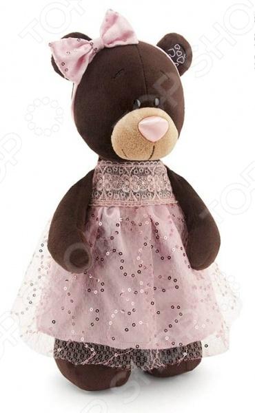 Мягкая игрушка Orange стоячая в платье с блестками Milk «Медведь»