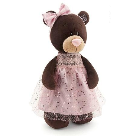 Купить Мягкая игрушка Orange стоячая в платье с блестками Milk «Медведь»