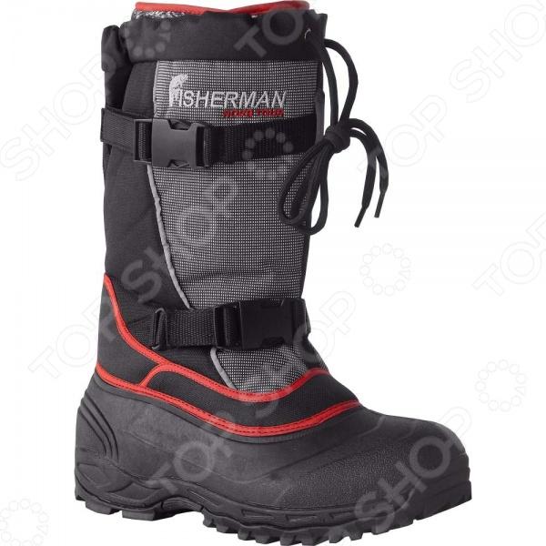 Сапоги для рыбалки зимние NOVA TOUR Солзан предназначаются для использования в суровых зимних условиях и способны защитить своего хозяина от морозов до -40 C. В обуви имеется трехслойный носок, который эффективно отводит влагу и создает эффект защиты от нежелательного теплового обмена с окружающей средой. Кроме того, для повышения удобства во время ходьбы и защиты от попадания снега в обувь были предусмотрены три различных уровня регулировки. Сапоги выполнены из морозостойкой резины с надставкой из полиэстера, а вкладыш представляет собой носок из мембранной ткани с синтетическим утеплителем и фольгированным слоем.