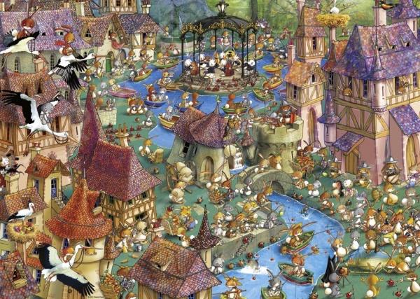 Пазл 1000 элементов Heye «Город кроликов»Пазлы (501–1000 элементов)<br>Пазл 1000 элементов Heye Город кроликов это отличное и веселое времяпрепровождение для всей семьи. Внутри упаковки находится набор из 1000 элементов. Части изображения соединяются между собой с помощью пазлового замка. Собрав все детали воедино, у вас получится великолепная картина, которую, сперва надежно закрепив, можно повесить на стену, как предмет декора. Пазл 1000 элементов Heye Город кроликов изготовлен из абсолютно безопасного материала, поэтому замечательно подойдет для детей. Головоломка развивает усидчивость, наблюдательность, образное восприятие и логическое мышление. Постоянно манипулируя деталями, ребенок улучшает мелкую моторику рук и координацию движений. Размер готового пазла составляет 70х50 см.<br>