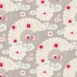 фото Отрез ткани Tilda Китайские веера. Цвет: серый