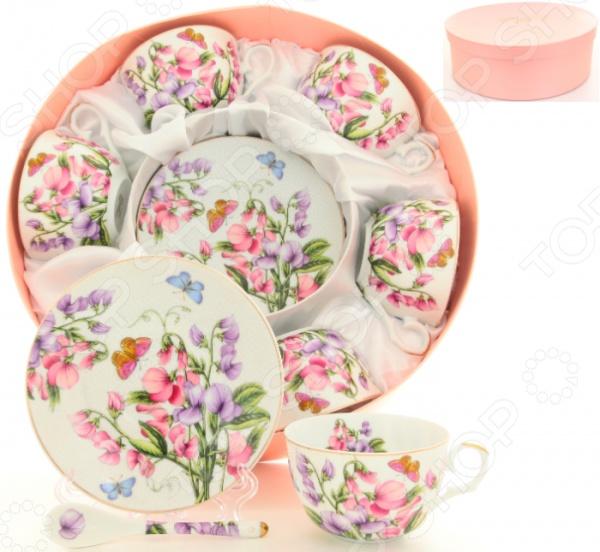 Чайный набор с ложками Elan Gallery «Душистый цветок» набор чайный желтый цветок 12 предметов