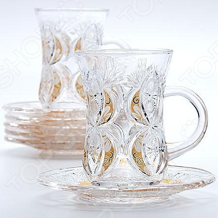 Набор стаканов и блюдца Loraine 22755Стаканы<br>Набор стаканов и блюдца Loraine 22755 - элегантный и красивый набор, который станет замечательным подарком для ваших родных и близких на любое торжество, будь то день рождения, свадьба, юбилей или новоселье. Набор выполнен из экологически чистого материала стекла. Такой набор станет настоящим украшением любого чаепития. Благодаря такому набору пить напитки будет еще вкуснее.<br>