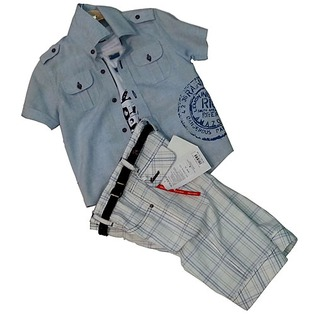 Купить Комплект: рубашка, майка и шорты Lemon «Экспедиция». Цвет: голубой