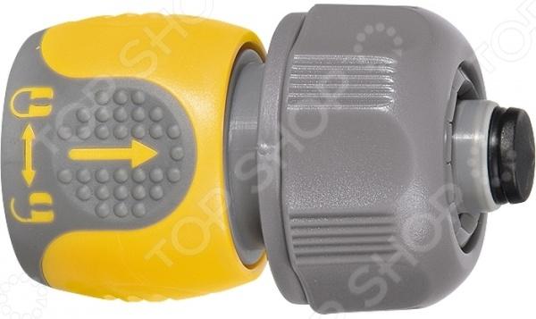 Коннектор с авквастопом PALISAD LUXE 66242Коннекторы и штуцеры для соединения шлангов<br>Коннектор с авквастопом PALISAD LUXE 66242 изделие, используемое для соединения шланга диаметр 3 4 с насадкой. Коннектор представлен двухкомпонентной структурой, выполнен из прочного ABS-пластика с резиновыми вставками. Закрепление изделия осуществляется при помощи специальных обозначений, которые помогут пользователю разобраться значок открытого и закрытого замка, стрелка, указывающая направление для вкручивания снятия коннектора . Система аквастопа позволяет перекрывать поток воды при смене насадки.<br>