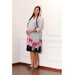 Купить Халат для беременных Nuova Vita 303.41. Цвет: серый
