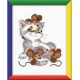 фото Набор для вышивания крестиком Сотвори Сама «Кот с мышами»