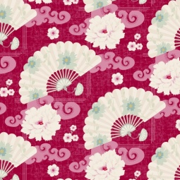 фото Отрез ткани Tilda Китайские веера. Цвет: красный