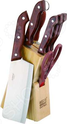 Набор ножей Bekker BK-139Ножи<br>Набор ножей Bekker BK-139 с лезвиями из высококачественной нержавеющей стали станет незаменимым на вашей кухне. Идеально подойдет для шинковки, чистки, нарезки овощей и фруктов, а также перерубания мелких костей. Лезвия ножей долго сохраняют заточку, а цельнокованная конструкция клинков гарантирует долговечность изделий. Эргономичная рукоять каждого изделия выполнена из пластика. Рельефная поверхность рукояти обеспечит надежный захват и не даст ножу скользить в руке при использовании. В комплекте поставляется 4 ножа различного назначения, топорик, кухонные ножницы, ножеточка и удобная деревянная подставка. С набором ножей Bekker BK-139 вы почувствуете себя профессиональным шеф-поваром. Набор подходит для мытья в посудомоечной машине.<br>