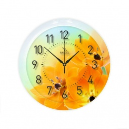 фото Часы Вега П 1-247/7-247 «Желтые тюльпаны»