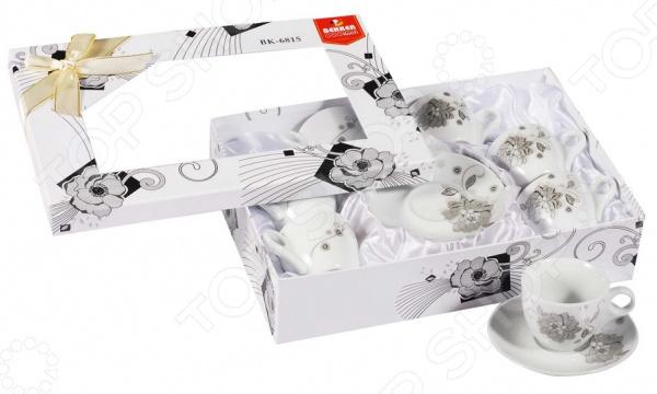 Кофейный набор Bekker BK-6815. В ассортиментЧайные и кофейные наборы<br>Товар продается в ассортименте. Цвет изделия при комплектации заказа зависит от наличия товарного ассортимента на складе. Кофейный набор Bekker BK-6815 отличается своим изысканным дизайном, простотой и функциональностью. Несмотря на свою внешнюю хрупкость, каждый из предметов набор облает высокой прочностью и надежностью. Аккуратные чашечки объемом 85 мл и блюдца диаметром 11 см выполнены из высококачественного фарфора материала безопасного для здоровья и надолго сохраняющего тепло напитка. Элегантный, стильный дизайн с с оригинальным декором делают этот кофейный набор прекрасным украшением любого стола. Набор аккуратно упакован в подарочную коробку, поэтому его можно преподнести в качестве оригинального и практичного подарка для своих родных и самых близких. Набор можно мыть в посудомоечной машине.<br>