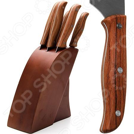 Набор ножей Mayer&amp;amp;Boch MB-23621Ножи<br>Набор ножей Mayer Boch MB-23621 с лезвиями из высоко-углеродистой нержавеющей стали станет незаменимым на вашей кухне. Идеально подойдет для шинковки, чистки, нарезки овощей и фруктов, а также перерубания мелких костей. Благодаря клинообразной форме сечения лезвия, ножи долго сохраняют заточку, а цельнокованная конструкция гарантирует долговечность изделий. Эргономичная рукоять каждого изделия выполнена из ABS-пластика. Рельефная поверхность обеспечит надежный захват и не даст ножу скользить в руке при использовании. В комплекте поставляются 5 ножей различного назначения и удобная деревянная подставка. С набором ножей Mayer Boch MB-23621, вы почувствуете себя профессиональным шеф-поваром.<br>