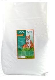 Корм сухой для кошек Mon Ami «Курица»Сухой корм<br>Корм сухой для кошек Mon Ami Курица сбалансированный рацион для ежедневного питания вашего любимца. Высокая энергетическая ценность удовлетворит потребности животного, при этом у вас не возникнет необходимости скармливать вашему питомцу большие порции. Оцените преимущества сухого корма Mon Ami:  Изготовлен из отборных ингредиентов, богатых питательными веществами.  Оптимальный баланс микроэлементов и витаминов для здоровья и хорошего настроения вашего питомца.  Витамины А, Д и Е поддерживают остроту зрения, здоровую кожу и шерсть. Антиоксиданты замедляют процессы старения организма. Если вы решили перевести своего питомца на новый рацион, то делайте это постепенно в течение 7 дней. Просто кормите кошку смесью этого корма с предыдущим, со временем уменьшая количество последнего. Ваш верный друг оценит новое лакомство, ведь корм отличается превосходным вкусом. Внимание! Не забывайте о свежей воде, которая должна быть постоянно в миске вашего питомца.<br>