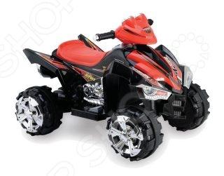 Квадроцикл детский электрический Пламенный Мотор 86074 транспорт с электроприводом для езды по твердым ровным поверхностям. Модель имеет яркую окраску и оригинальный дизайн. Квадроцикл даст ребенку начальные навыки вождения, подарит небывалую радость и веселье, а прогулки станут еще интереснее. Предназначен для детей возрастом от 3-х до 8-ми лет. Основные характеристики:  Размер квадроцикла ДхШхВ : 88х61,8х64,6 см.  Двигатель: 6V 25W.  Аккумулятор: DC12V 5AHх1.  Время зарядки аккумуляторной батареи: 8-12 часов.  Элементы питания для руля: 3 батарейки типа АА 1,5В в комплект не входят .  Возможная скорость: 2,3- 3,6 км ч.  Грузоподъемность: 35 кг.