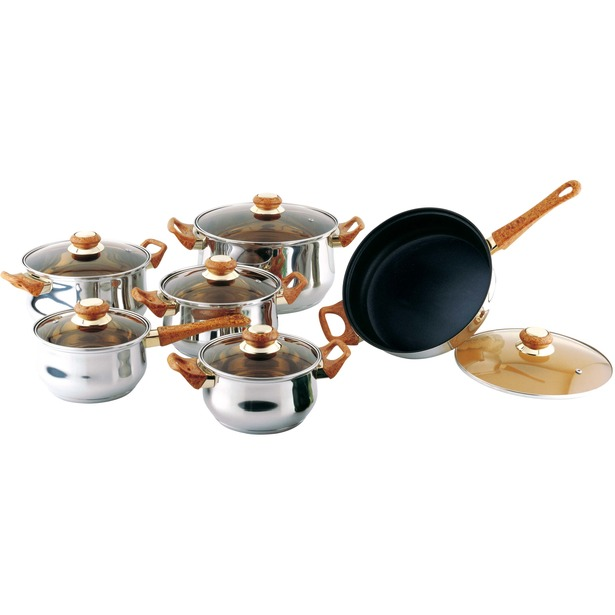 фото Набор посуды «Мечта хозяйки стандарт». Количество предметов: 12. Цвет: коричневый. Материал рукояти: пластик