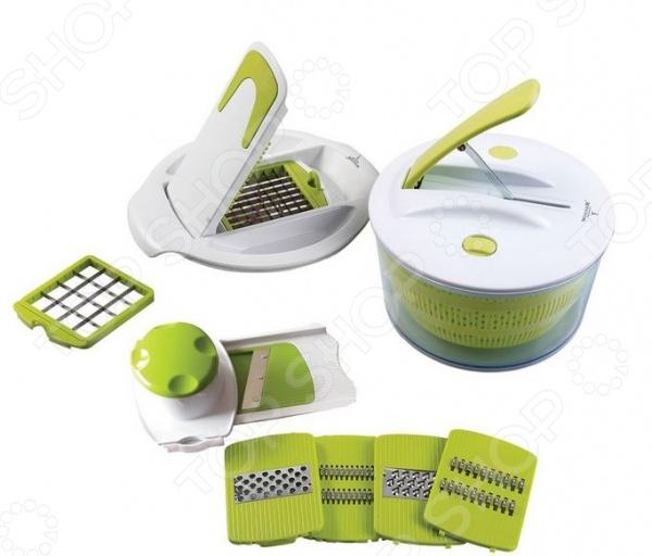 Набор для приготовления салата Winner WR-7414Терки. Шинковки<br>Набор для приготовления салата Winner WR-7414 станет прекрасным дополнением к набору аксессуаров и принадлежностей для кухни. С ним вы сможете не просто создавать вкусные аппетитные блюда, но и значительно сократите время их приготовления. В комплект входят ножи для крупной и мелкой нарезки, крышка для сушки зелени и ягод и корзина-дуршлаг. Корпус измельчителя изготовлен из ударопрочного пластика, не вступающего в реакцию с продуктами питания, а лезвия из высококачественной нержавеющей стали.<br>