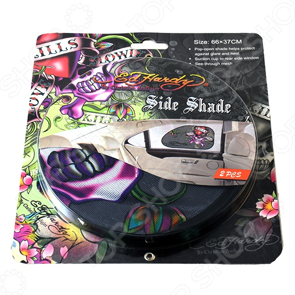 Шторка солнцезащитная на боковые стекла ED Hardy EH-00108 Love Kills Slowly - фото 2