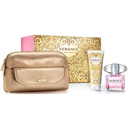 Купить Набор женский: туалетная вода, лосьон для тела и золотая косметичка-клатч Versace Bright Crystal, 100 мл, 90 мл