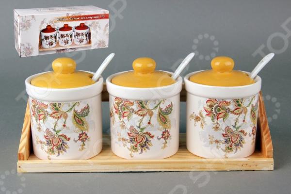 Набор банок для сыпучих продуктов Коралл «Марокканский цветок»
