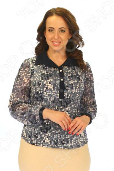 Блузка Milana Style «Бисер»Блузы. Рубашки<br>Блузка Milana Style Бисер незаменимая вещь в гардеробе модницы. Подойдет для женщин практически любой комплекции, ведь особенности кроя помогают скрыть недостатки и подчеркнуть достоинства фигуры. Эта блуза отлично подойдет для повседневного использования.  Блузка полуприлегающего силуэта с классическим рубашечным воротником и частичной застежкой на пуговицы.  Яркий геометрический узор смотрится очень стильно.  Длинные рукава с присборенным манжетой выполнены из тонкой шифоновой ткани.  Выполнено из мягкого трикотажного и шифонового полотна. Блуза изготовлена из высококачественного трикотажа вискоза 35 , полиэстер 60 , лайкра 5 . Полиэстер предохраняет вещь от измятия и быстро высыхает после стирки. Швы обработаны текстурированными, эластичными нитями, благодаря чему не тянутся и не натирают кожу.<br>