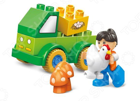 Конструктор игровой Dr.Luck «Маленькая ферма» D1201Игровые конструкторы<br>Конструктор игровой Dr.Luck Маленькая ферма D1201 станет отличным подарком для юного конструктора! Игровой набор не только обучает и развлекает, но и помогает развивать мелкую моторику рук, логическое мышление и воображение ребенка. Комплект содержит 11 деталей, с помощью которых можно собрать маленький фермерский грузовичок для перевозки курочек и куриных яичек. Все детали выполнены из нетоксичных полимерных материалов, поэтому полностью безопасны для ребенка. Рекомендуется для детишек от 3 лет и старше.<br>