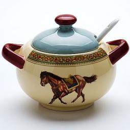 фото Сахарница с ложкой Loraine «Лошадь»