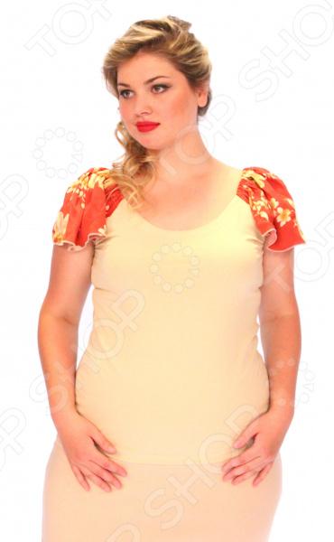 Блуза СВМ-ПРИНТ «Орианна». Цвет: бежевыйБлузы. Рубашки<br>Блуза СВМ-ПРИНТ Орианна это легкая и нежная блуза, которая поможет вам создавать невероятные образы, всегда оставаясь женственной и утонченной. Благодаря отличному дизайну она скроет недостатки фигуры и подчеркнет достоинства. Блуза прекрасно смотрится с брюками и юбками, а насыщенный цвет привлекает взгляд. В этой блузе вы будете чувствовать себя блистательно как на работе, так и на вечерней прогулке по городу. Универсальная длина до середины бедра делают блузу одеждой на все случаи жизни, а удобные короткие рукава в виде крылышек, скрывают полноту плеч. Швы обработаны текстурированными, эластичными нитями, благодаря чему швы тянутся и не натирают. На фотографии блуза представлена с юбкой Венера . Блуза изготовлена из мягкой ткани 100 хлопок , благодаря чему материал не скатывается и не линяет после стирки. Уникальная модель, которую можно приобрести только на нашем телеканале!<br>