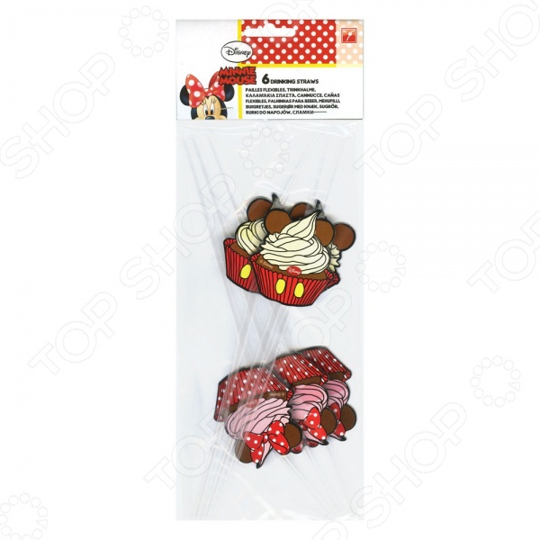 Соломка для напитков Procos 82679 «Кафе Минни»Праздничная сервировка<br>В сравнении с традиционным застольем для взрослых, детское торжество предполагает не просто сервировку стола вкусными блюдами, но и оригинальное украшение помещения. Как правило, принято делать детские праздники тематическими. Это дает малышам уникальную возможность погрузиться в мир чудес и волшебства, ощутив себя героями любимых сказок и мультфильмов. Соломка для напитков Procos 82679 Кафе Минни отлично подойдет для украшения детских коктейлей и поможет создать атмосферу настоящего торжества. Изделия выполнены в яркой цветовой гамме и декорированы изображениями любимых диснеевских персонажей. В наборе 6 штук.<br>