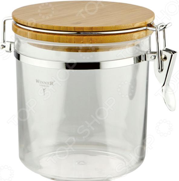 Контейнер для хранения сыпучих продуктов Winner с деревянной крышкой емкость для хранения сыпучих продуктов с крышкой 12x11 см berghoff studio 1106403