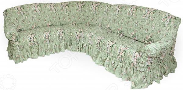 Натяжной чехол на классический угловой диван «Фантазия. Феличита»Чехлы на диваны<br>Рано или поздно интерьер квартиры приедается, родные стены теряют былой уют и изюминку . Что же делать Конечно, реанимировать жилище! Однако мало тех, кто захочет проводить косметический ремонт, переклеивать обои, покупать новую мебель. Есть лучшее решение съемный чехол для дивана. Он легко и эффектно обновит интерьер, вдохнет в него новую жизнь и, что немаловажно, потребует от вас минимальных усилий!  Натяжной чехол на классический угловой диван Фантазия. Феличита качественное, практичное и стильное дополнение домашнего текстиля. Приятная цветовая гамма изделия поможет гармонично вписать диван в любой интерьер. Несмотря на свою пестроту, растительный узор будет прекрасно сочетаться с большинством цветов. Поэтому можете смело подбирать к нему разнообразные предметы декора и обставлять ими гостиную. Качественно, стильно, практично! Помимо превосходных декоративных свойств, чехол отличается и первоклассным качеством:  он очень прочен и износоустойчив;  не теряет насыщенность цветов даже после длительного использования;  хорошо переносит ручные и машинные стирки;  не содержит аллергенов;  невероятно приятен на ощупь;  устойчив к растяжениям.  Оригинальный гофрированный материал на эластичной основе плотно облегает мебель его невозможно отличить от родной обивки дивана. Великолепный цветочный узор на зеленом фоне станет ярким акцентом вашей гостиной, внесет в нее свежие позитивные нотки. Чтобы добиться подобного эффекта, достаточно всего несколько минут.  Именно поэтому съемный чехол для мягкой мебели выбор современных практичных людей, которые ценят свое время и грамотно расходуют средства! Одежда для вашей мебели Способов обновить старую мебель не так много. Чаще всего приходится ее выбрасывать, отвозить на дачу или мириться с потертостями и поблекшими цветами. Особенно обидно избавляться от мебели, когда она сделана добротно, но обивка подвела. Эту проблему решают съемные чехлы для ме