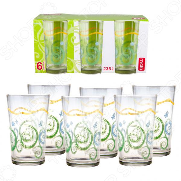 Набор стаканов Miolla «Фантазия»Стаканы<br>Набор стаканов Miolla Фантазия стильный и практичный набор для подачи прохладительных напитков, соков и любимых коктейлей за праздничный или обеденный стол. С ними даже привычные напитки будут выглядеть иначе! Стаканы выполнены из легкого, прозрачного стекла, который идеально подходит для ежедневного использования. Этот материал абсолютно безопасен для вашего здоровья, так как при его производстве не используются вредные примеси и добавки. Стекло нейтрально, поэтому не будет влиять на вкус и аромат вашего напитка.  Главные достоинства набора стаканов от бренда Miolla.  Большой объем в 235 мл.  Подходит для частого мытья в посудомоечной машине.  Внешний рисунок долговечен и теряет своих красок даже после многолетнего использования.  Набор универсален, так как подходит для повседневного использования и для сервировки праздничного стола.  Качественное и стильное исполнение! В отличии от традиционных граненных стаканов с мутными или непрозрачными стенками, этот современный набор отличается внешней легкостью и элегантностью. Простая, но удобная форма делает набор функциональным и практичным в любой ситуации! Несмотря на яркий и красочный рисунок, стаканы будут отлично смотреться с другими столовыми сервизами и наборами. Такой набор станет идеальным дополнением вашей кухонной утвари, а также замечательным подарком для родных и близких.<br>