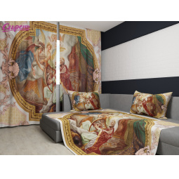Комплект: фотошторы и покрывало Сирень «В стиле XIX века»