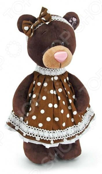 Мягкая игрушка Orange стоячая в платье в горох Milk «Медведь»