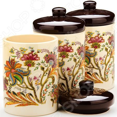набор банок для сыпучих продуктов loraine красный узор 400 мл 3 шт 25862 Набор банок для сыпучих продуктов Loraine «Цветочный мотив»