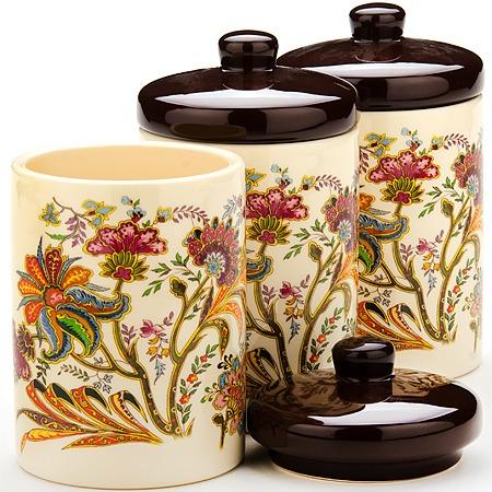Купить Набор банок для сыпучих продуктов Loraine «Цветочный мотив»