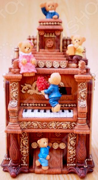 цены  Музыкальная шкатулка Crystal Deco «Мишки на пианино»